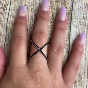 Sterling Silver Two Bands Cross Ring